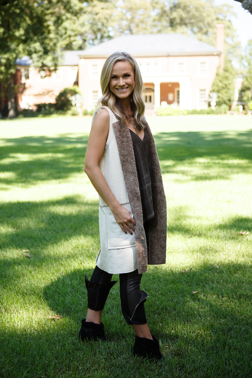 From Kittie Kyle, black ankle-zip pants, $298; loose brown suede tank, $245; sheepskin vest, $428.