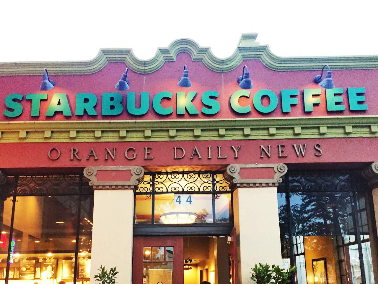 Starbucks has two vintage locations on the Old Towne Orange plaza, including this space in the old Orange Daily News building.