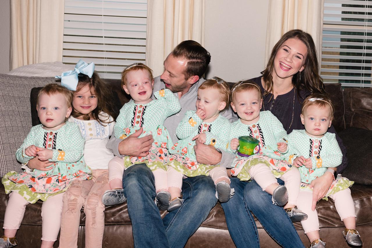 Danielle and her husband Adam are pictured here with daughters Blayke, 5, and 20-month-old quintuplets, whose names are Ava, Hazel, Olivia, Riley and Parker.
