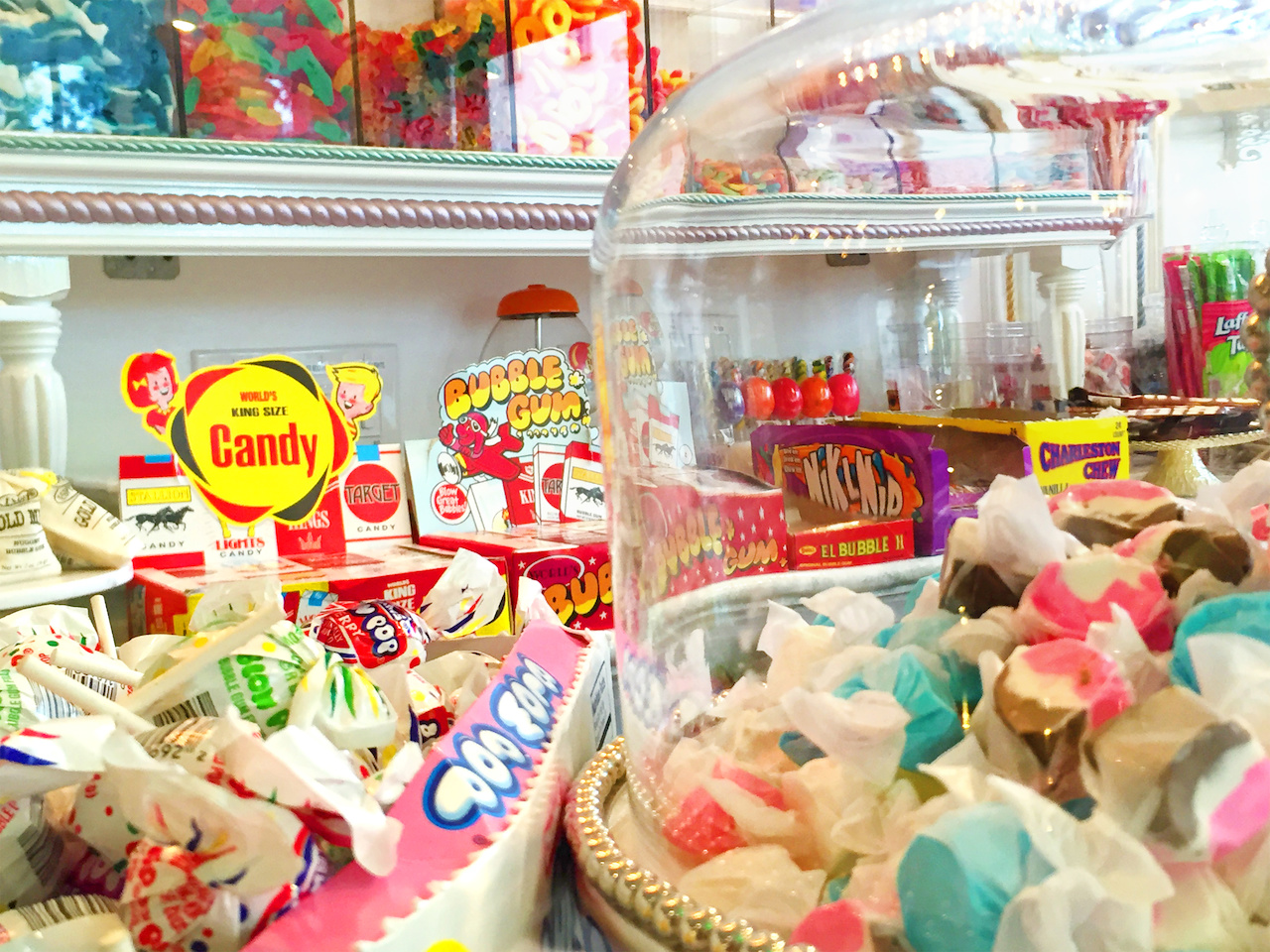 When we visited, the candy counter at Rockwell's was just getting stocked.