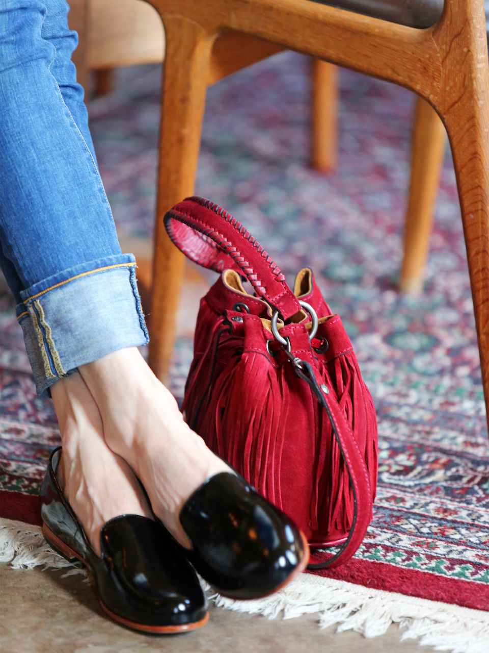 A cherry bucket bag is the perfect piece for fall