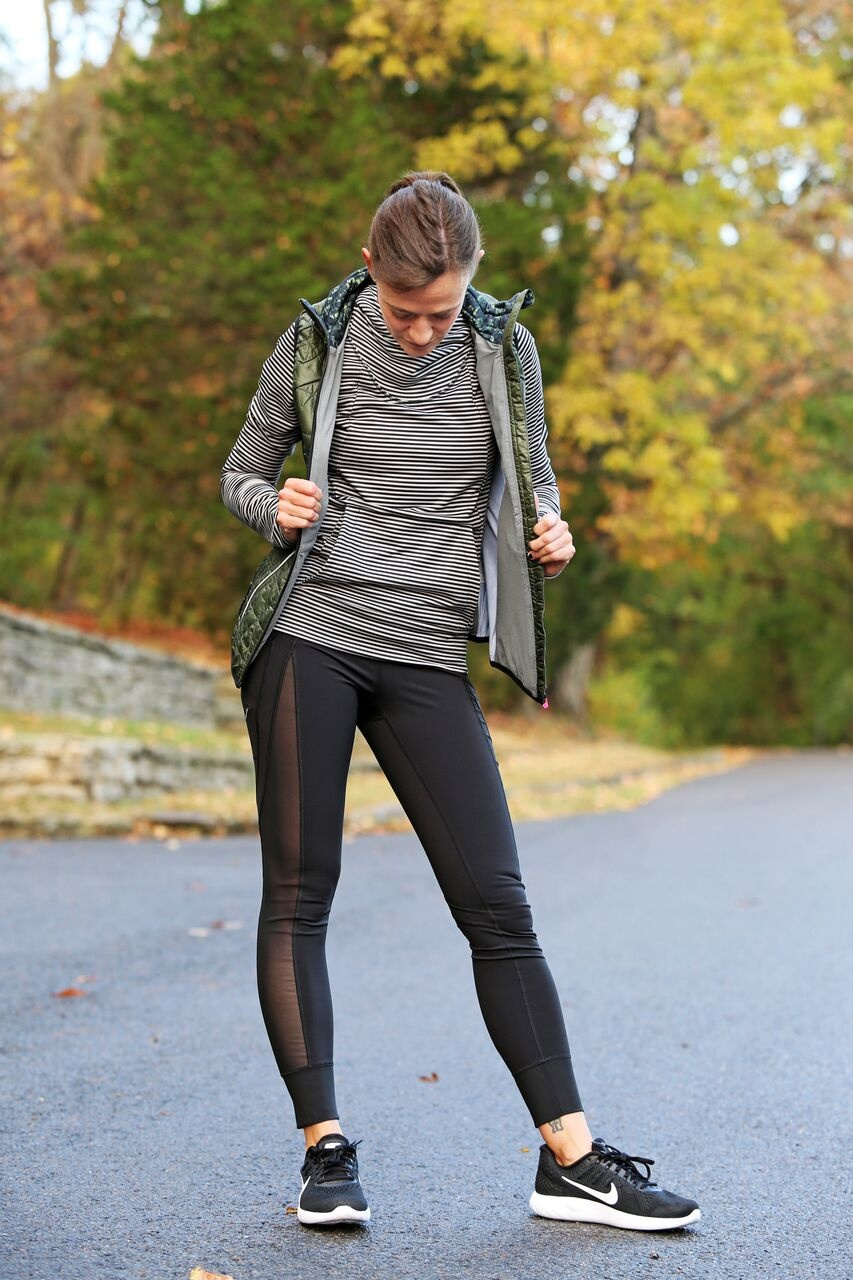 Stripes and camo with mesh leggings? That's pattern and texture mixing at it's finest!