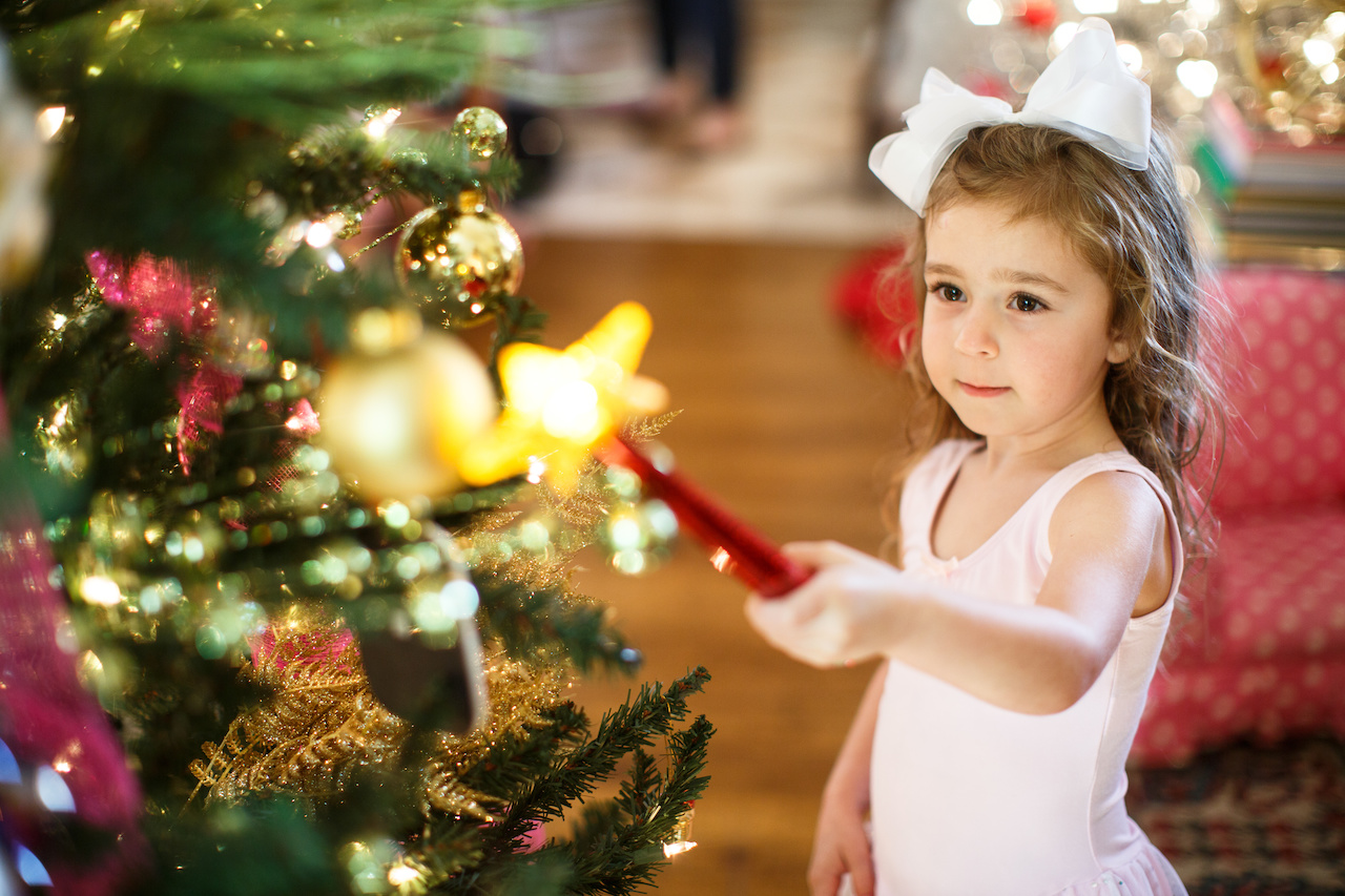 Gay's granddaughter Sophia, 4, lights the tree with a wave of the Magic Light Wand!