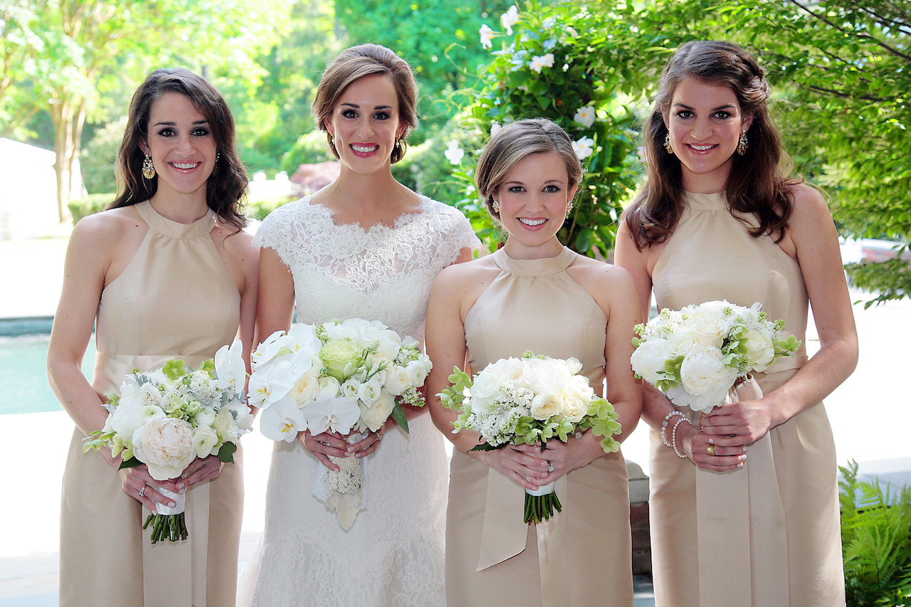 Bryson had three bridesmaids — her two sisters, Rebecca and Miles Schaeffer, and her sister-in-law, Kristen Kennedy. The bridesmaids as well as some of Bryson's close friends and family joined in getting ready for the big day.