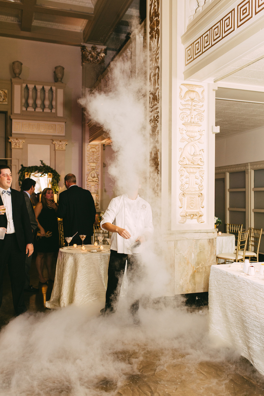 "Made in just seconds, the preparation of this dessert caused quite a spectacle, with liquid nitrogen ""smoke"" rolling from the table towards the cake and across the dance floor."