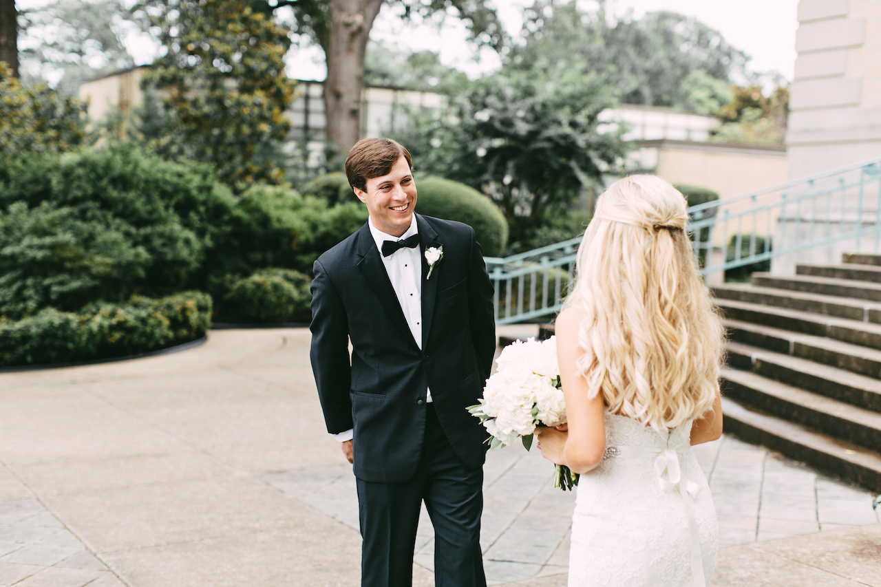 "The couple shared an intimate ""first look"" moment before guests arrived."