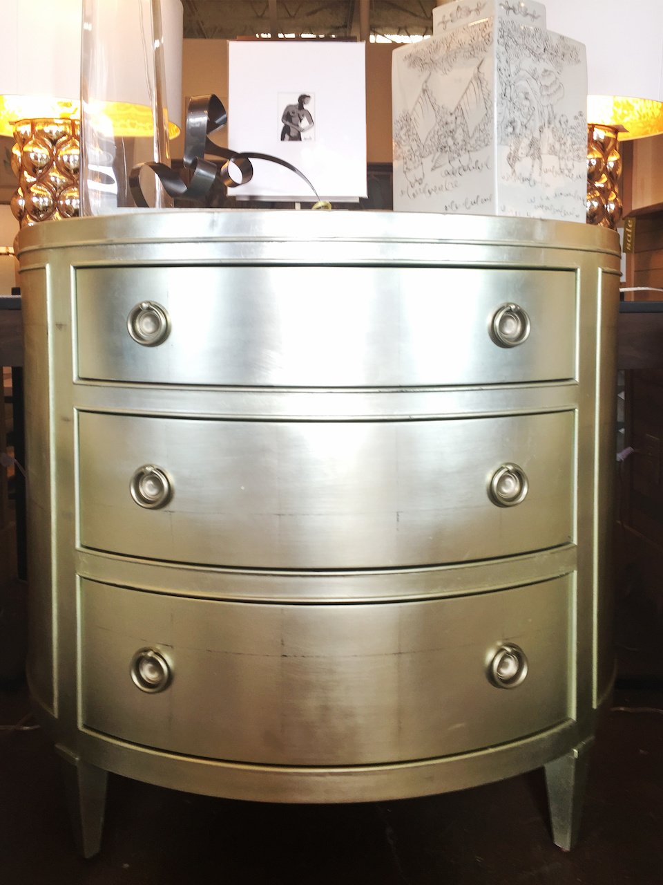 Round metallic chest, $1,199, at Defining Home