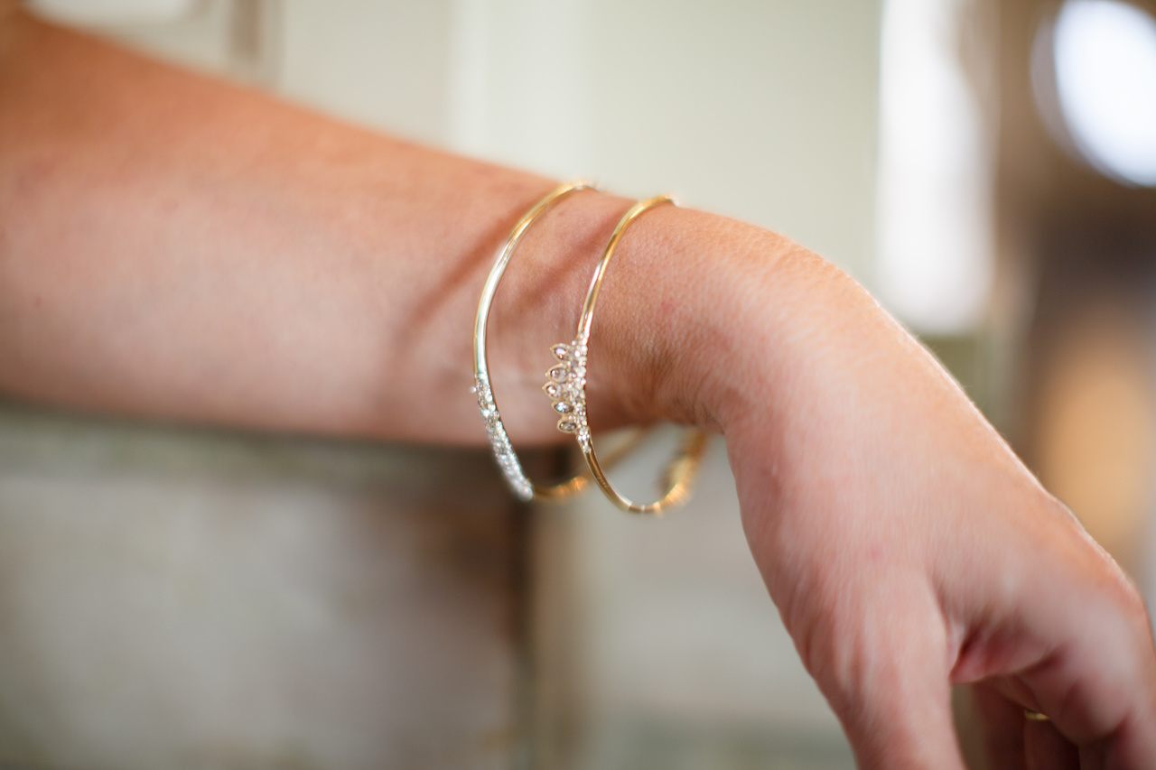 Abittar pave bangle $145, and Marquis cluster bracelet, $145 from Oak Hall.