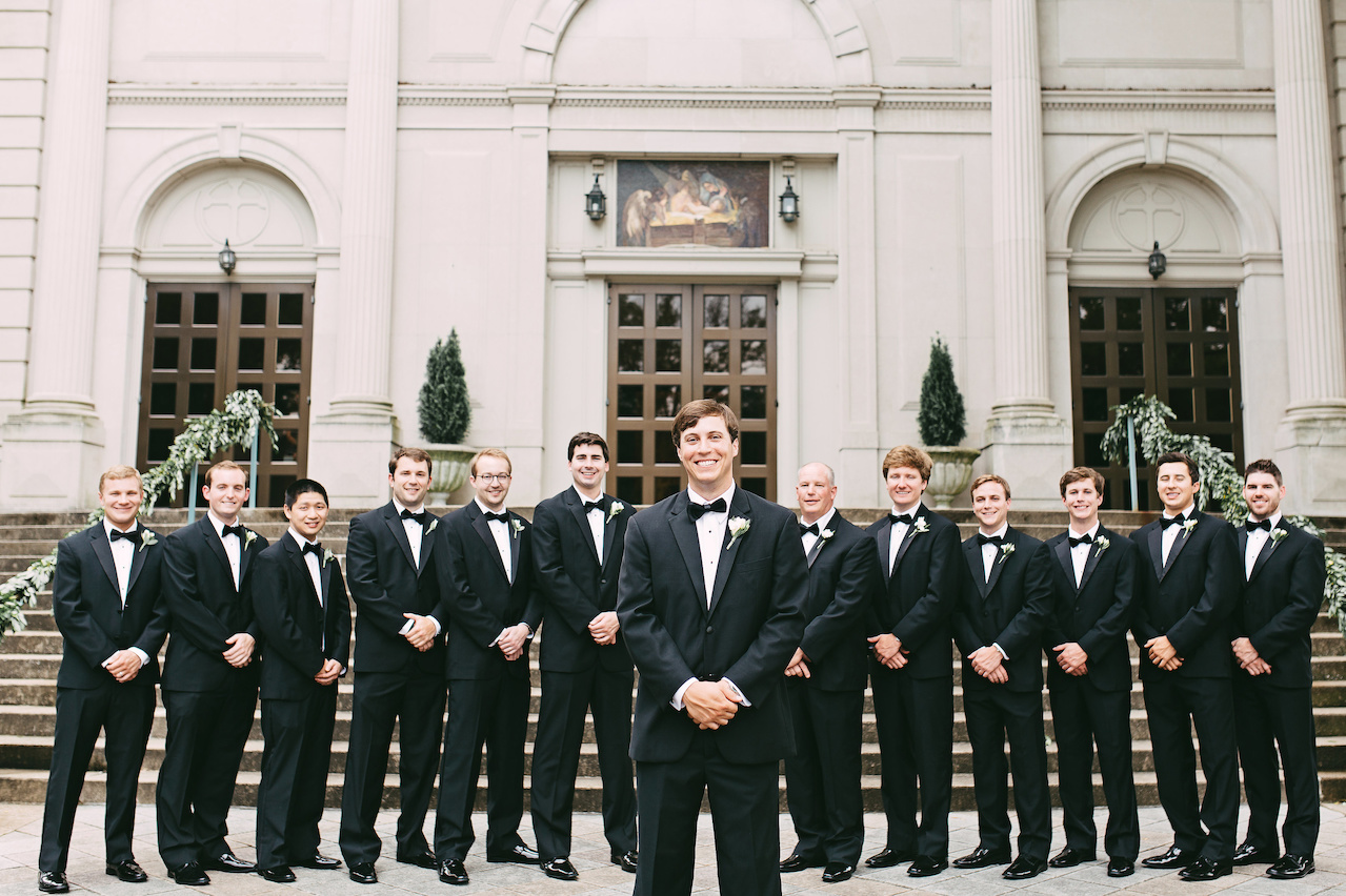 William's twelve groomsmen included his dad, two brothers, Kendall's brother, two of his best childhood friends and six of his best friends from college.
