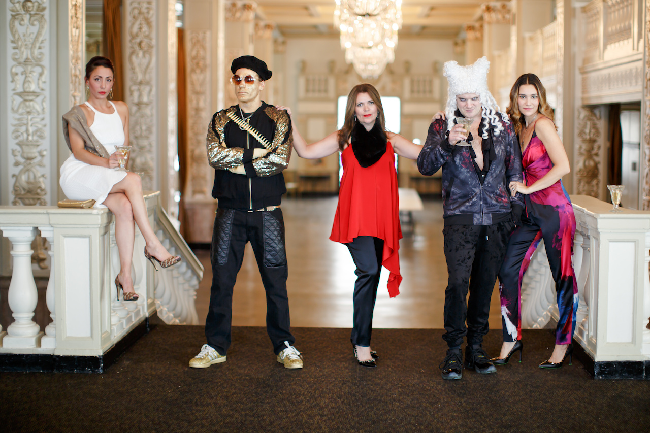 What are YOU wearing New Year's Eve? Our models Lea Richardson, Anca Marr and Colleen Canale, with aristocrunk rappers Lord T. (right) and Eloise (left).