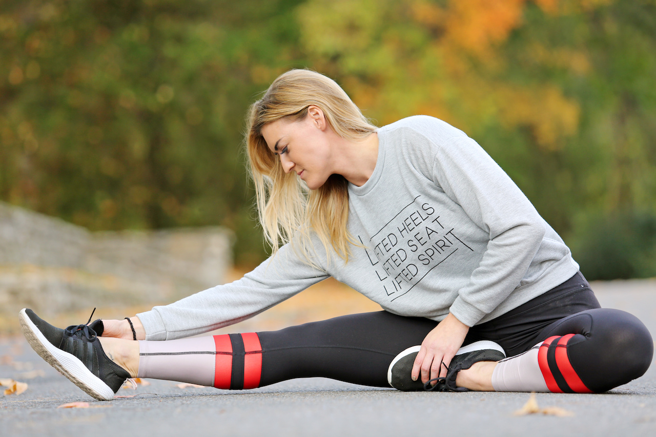 Graphic sweatshirts and striped leggings show off style while being comfortable enough for your next yoga session or barre class!