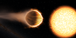 """Researchers have found that a """"hot Jupiter"""" exoplanet named WASP-121b (left) has a stratosphere hot enough to boil iron. The planet is as close to its host star (right) as possible without the star's gravity ripping the planet apart.  Image credit: Engine House VFX, At-Bristol Science Centre, University of Exeter (Click image to download hi-res version.)"""