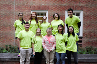 Patty with nine of her 65 ULAs for BSCI 170. (Back row, L-R) Annie Trang, Isabelle Lock, Elaine Athey, Miriam Kaufman and Kourosh Kalachi (Biological Sciences). (Front row, L-R) Jimmy Bui (Public Health Science), Liza Rife (Biological Sciences), Patty Shields, Alice Li (Biological Sciences) and Jessica Ho (Biological Sciences with a minor in Sustainability Studies). Photo by Faye Levine. (Click image to download high-res version.)