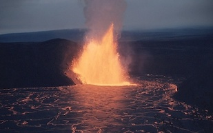A fountain of lava erupts from Hawaii's Kilauea Iki crater on December 5, 1959. Two rock samples from this eruption contain geochemical anomalies that could date back 4.5 billion years, shortly after the Earth first formed. Image credit: USGS/J.P. Eaton (Click image to download hi-res version.)