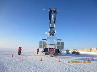 The science payload for the Boron And Carbon Cosmic rays in the Upper Stratosphere (BACCUS) Long Duration Balloon (LDB) mission awaits launch at McMurdo Station, Antarctica, on November 28, 2016. Image credit: NASA/UMD Cosmic Ray Physics Group (Click image to download hi-res version.)
