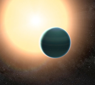 "The atmosphere of the distant ""warm Neptune"" HAT-P-26b, illustrated here, is unexpectedly primitive, composed primarily of hydrogen and helium. By combining observations from NASA's Hubble and Spitzer space telescopes, researchers determined that, unlike Neptune and Uranus, the exoplanet has relatively low metallicity—an indication of the how rich the planet is in all elements heavier than hydrogen and helium. Image credit: NASA/GSFC (Click image to download hi-res version.)"