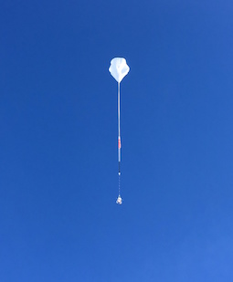 The Boron And Carbon Cosmic rays in the Upper Stratosphere (BACCUS) Long Duration Balloon (LDB) mission takes flight from McMurdo Station, Antarctica, on November 28, 2016. Image credit: NASA (Click image to download hi-res version.)