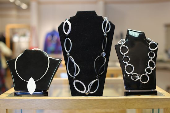 From Timna Distinctive Artwear, sterling silver necklaces with embellishments, $115 to $167.