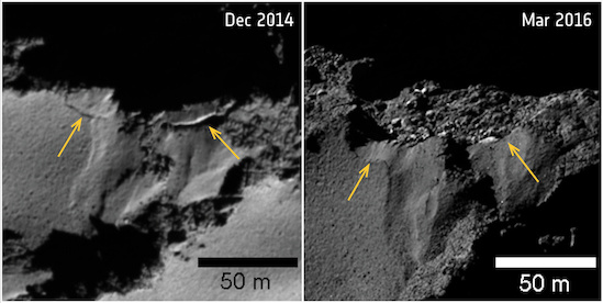 Several sites of cliff collapse on Comet 67P/Churyumov–Gerasimenko were identified during Rosetta's mission. This image focuses on an example in the Ash region, close to the boundary with Imhotep on the comet's large lobe. The yellow arrows mark the fractures where the detachment occurred. The images were taken by Rosetta's OSIRIS camera on December 2, 2014 (left) and March 12, 2016 (right). Image credit: ESA/Rosetta/MPS for OSIRIS Team MPS/UPD/LAM/IAA/SSO/INTA/UPM/DASP/IDA (Click image to download hi-res version.)