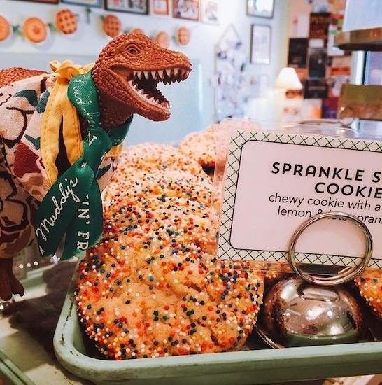 Dino Jeff Goldblum is just one of Muddy's mascots. Image | @muddysbakeshop
