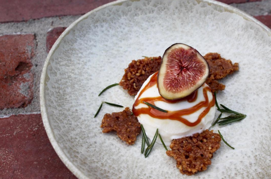 A 'No Menu Monday' posting from the boy wonders at AMIK: Vanilla gelato bombe with fig, honey, walnut and rosemary. Image | @amitaliancooks
