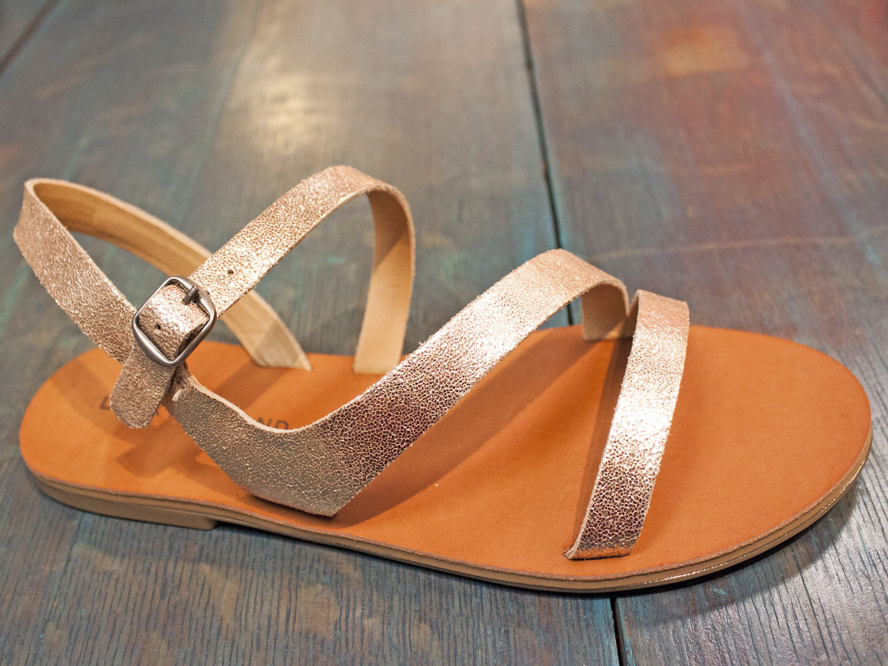 Classic and cute Lucky Brand sandals with a hint of shimmer are also available in brown and black. $62, at Sachi.