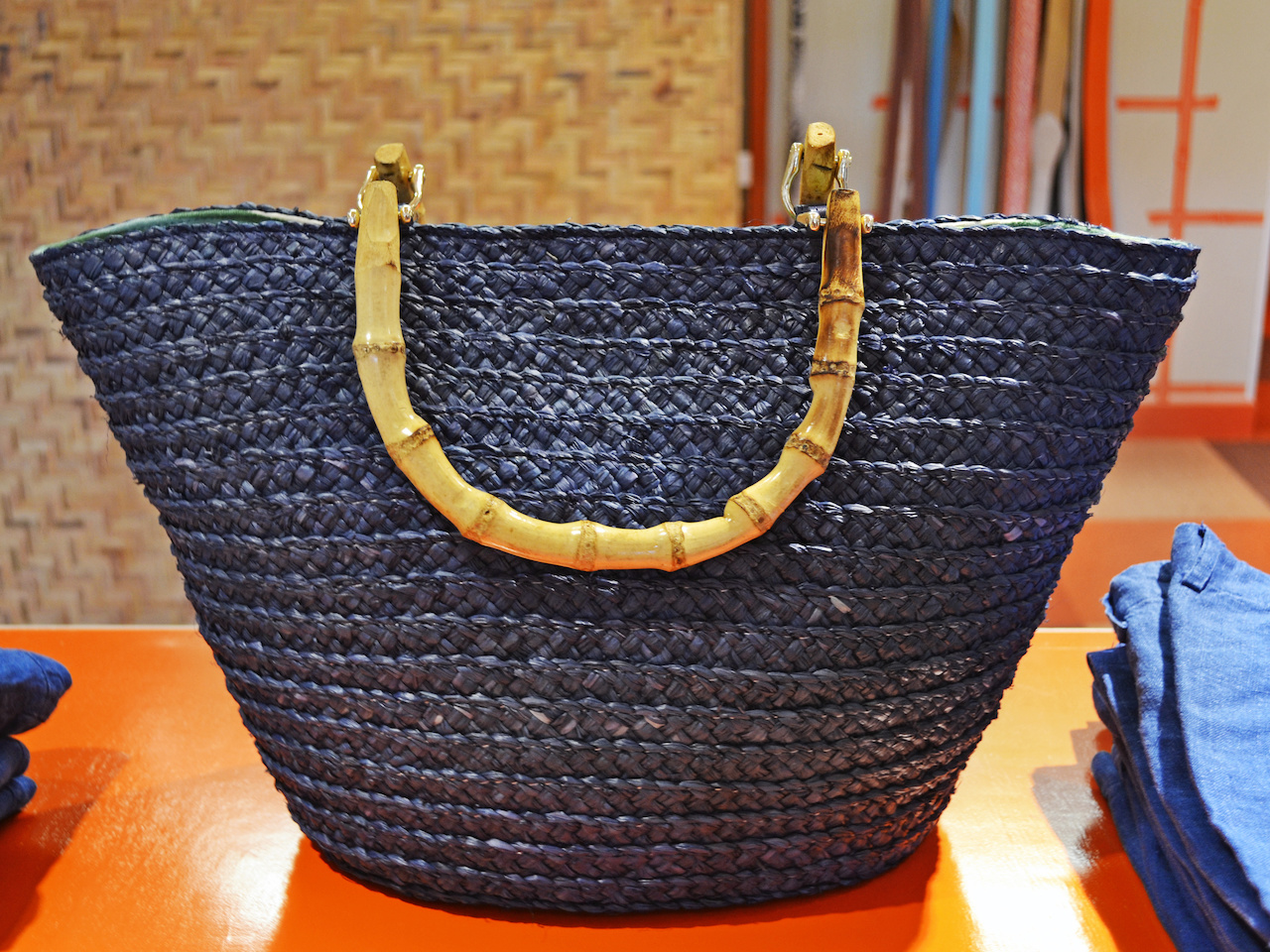 Navy raffia tote at J. McLaughlin