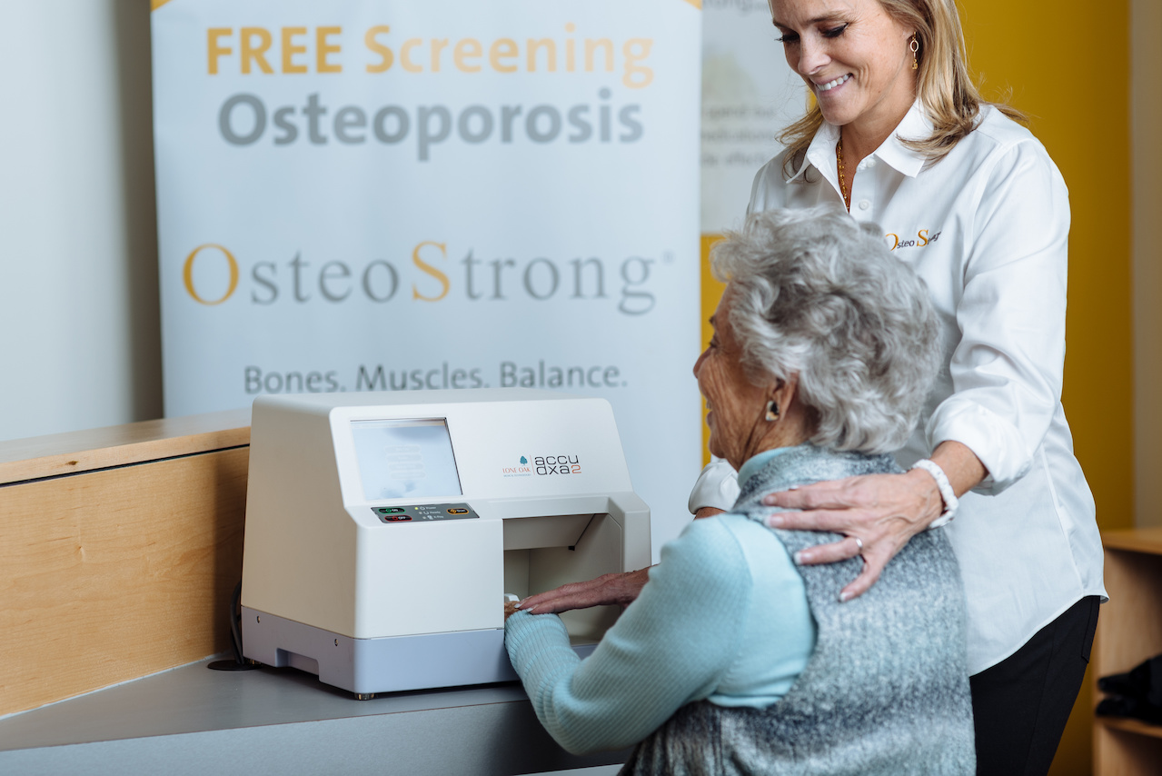 Schedule a free bone density screening at any of the area Osteostrong locations.