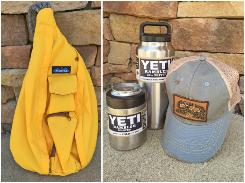 From Rogers Trading Company: Kavu tangerine rope sling bag, $44.99; Yeti Rambler Colster, $39.99; Yeti Rambler 36 oz. bottle, $59.99; Judith March trailer cap, $39.99