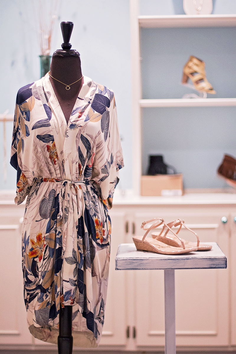 From More Therapy: On the Road Mura tunic, $71; Splendid ember nude wedges, $42; Golden Stella necklace, $30