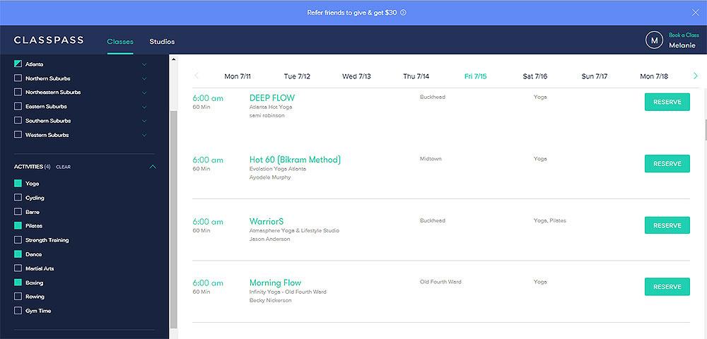 ClassPass schedule