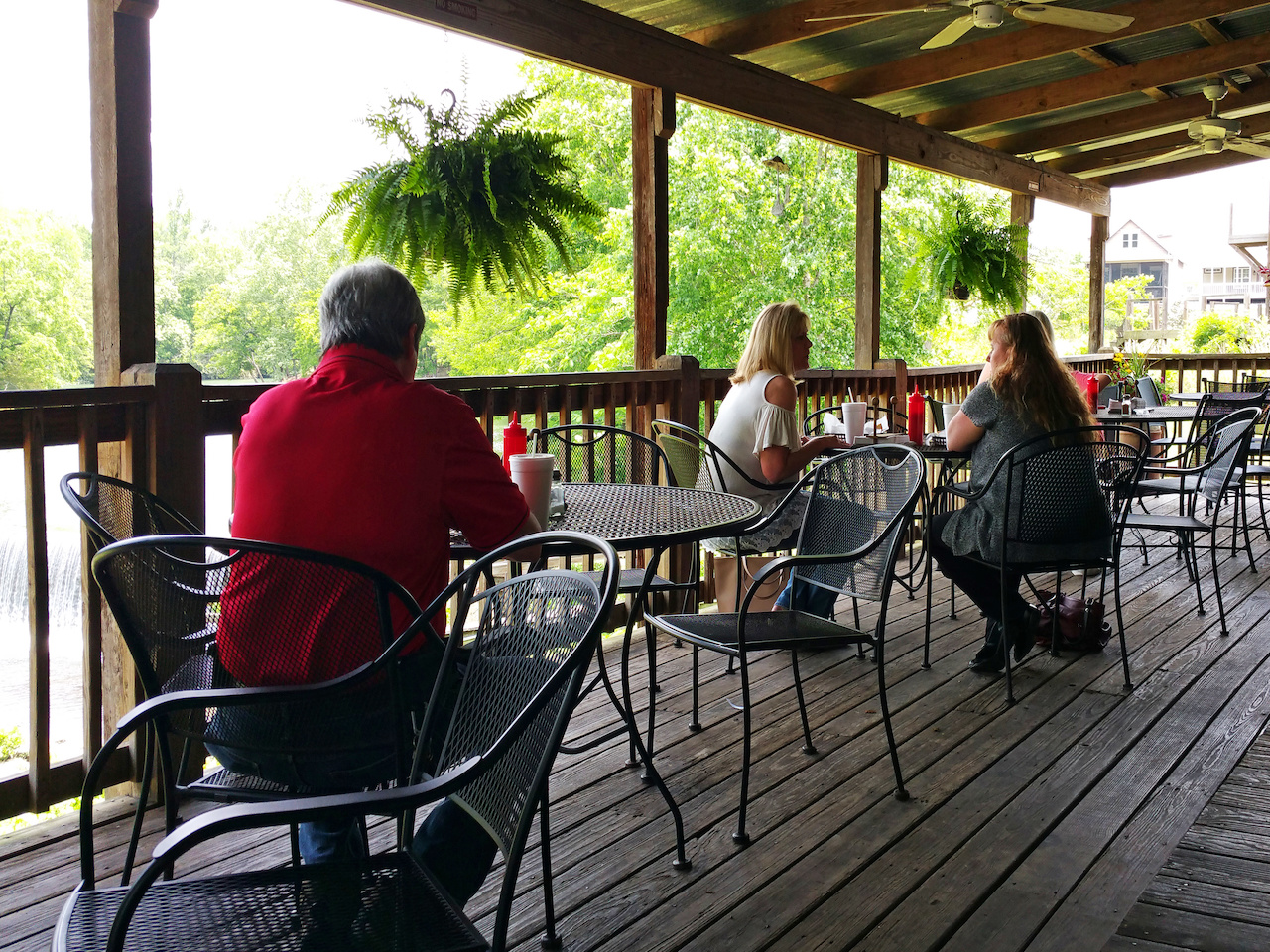 The patio at The Depot overlooks the Buck Creek falls.