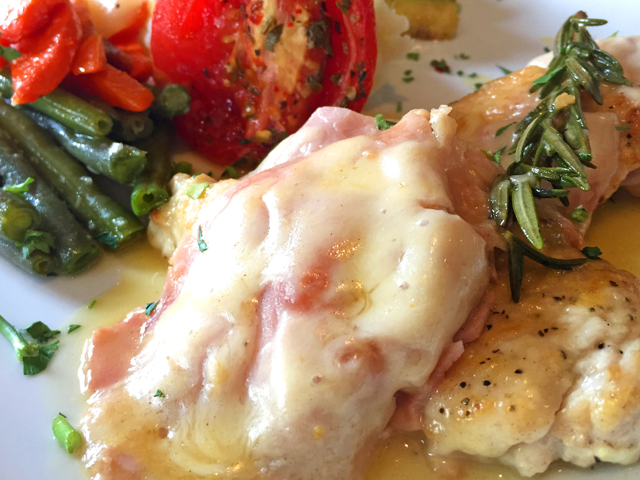 The pollo al rosmarino at Francoli's is served with seasonal vegetables.