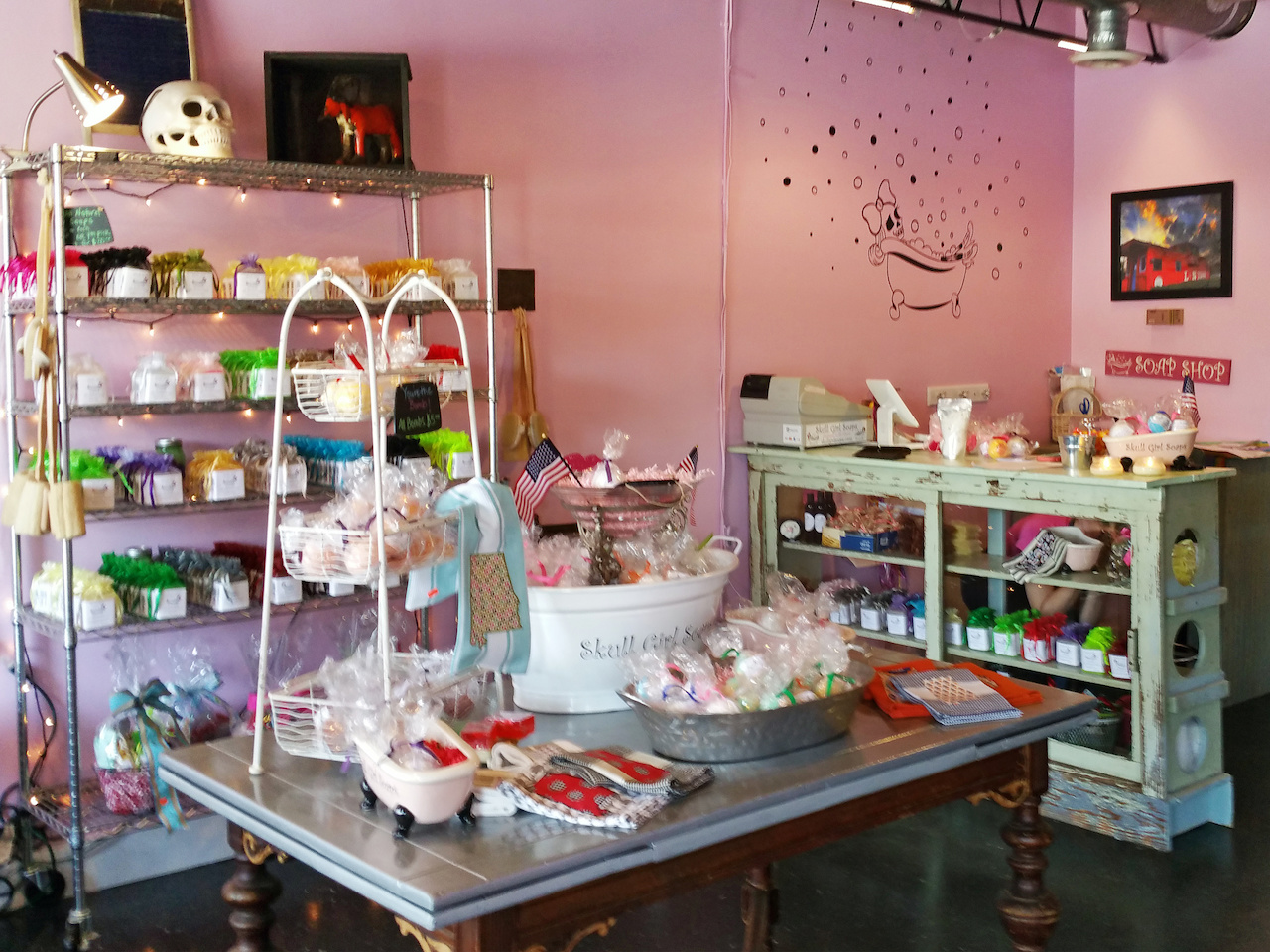 Skull Girl Soaps' shop is pretty in pink!