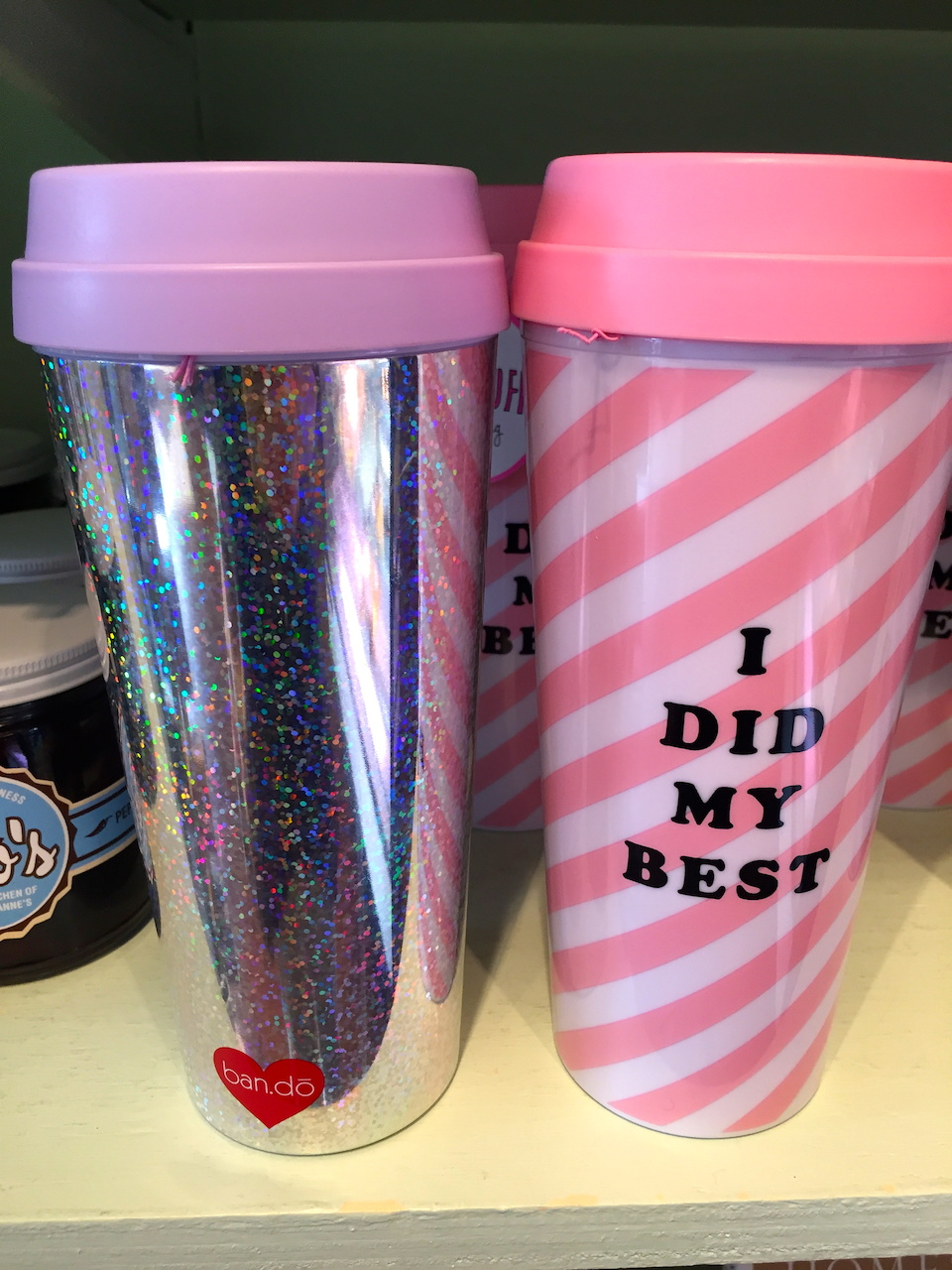 Ban.do thermal mugs, $15 at Muddy's Bake Shop