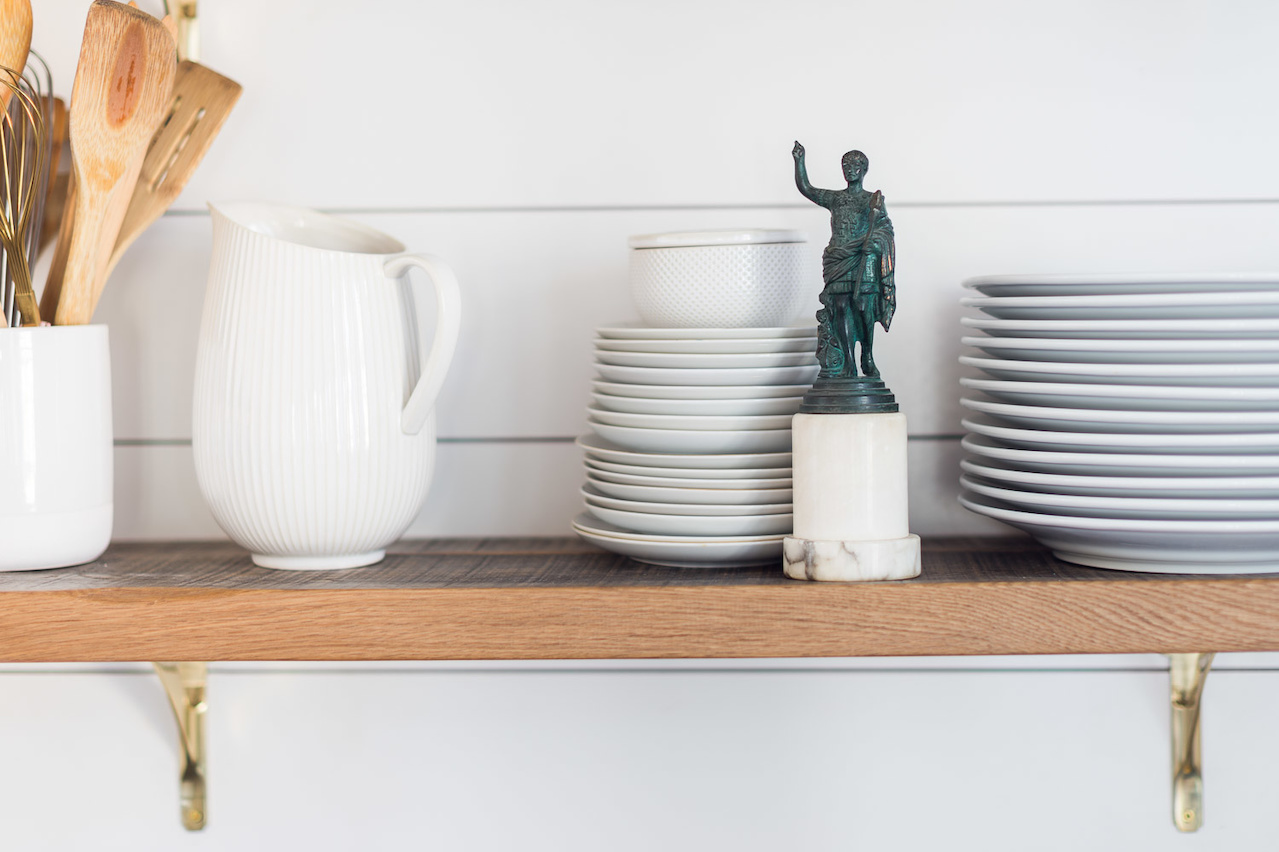 store more than dishes on your open shelves