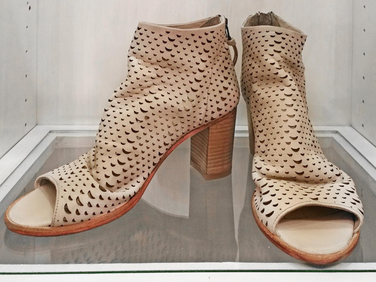Laser-cut, peep-toe nude heel, $180, at Theadora Abbeyluxe