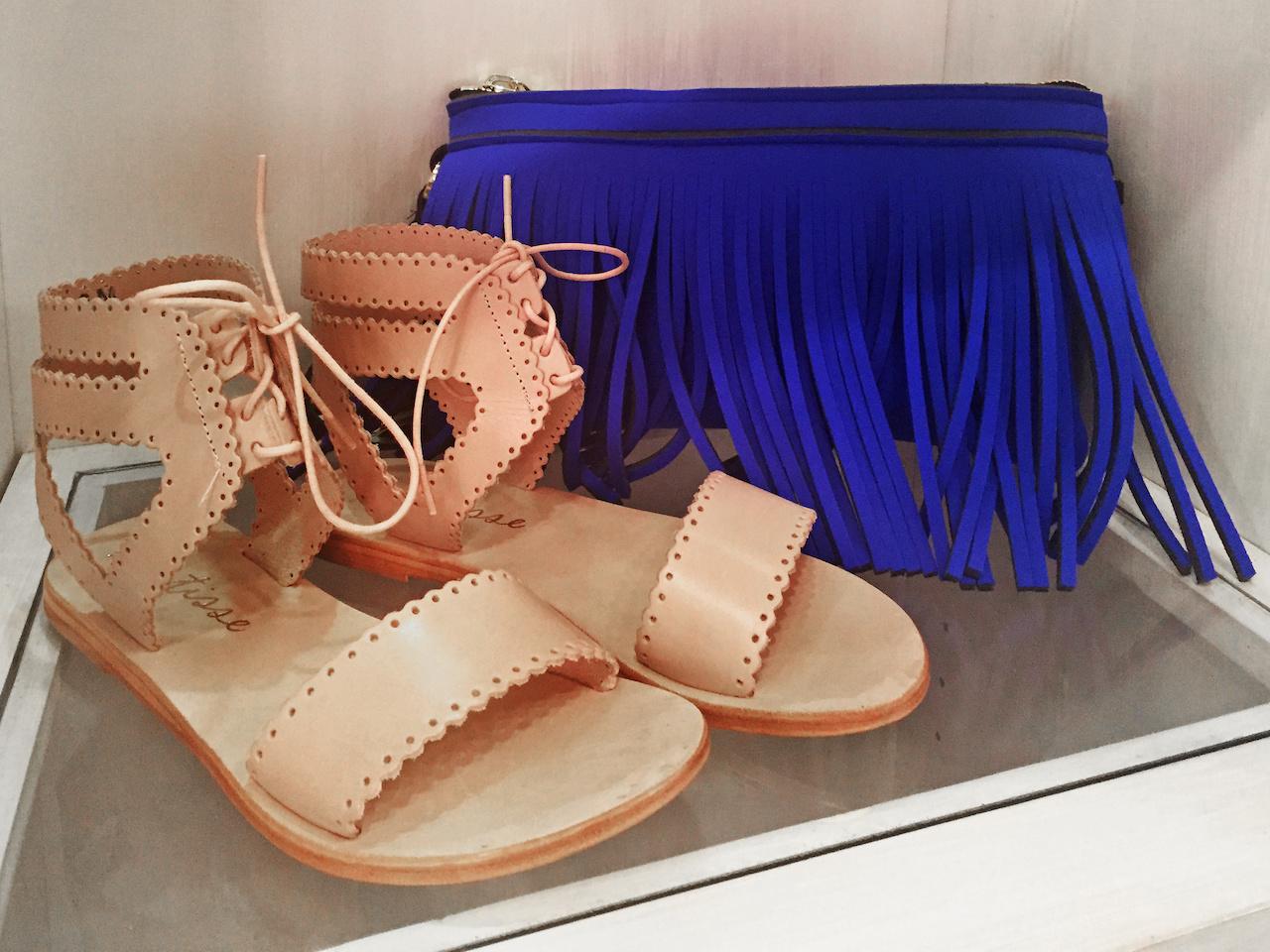 From Theadora Abbeyluxe: Matisse tan sandal, $75; Hippy blue clutch, $118