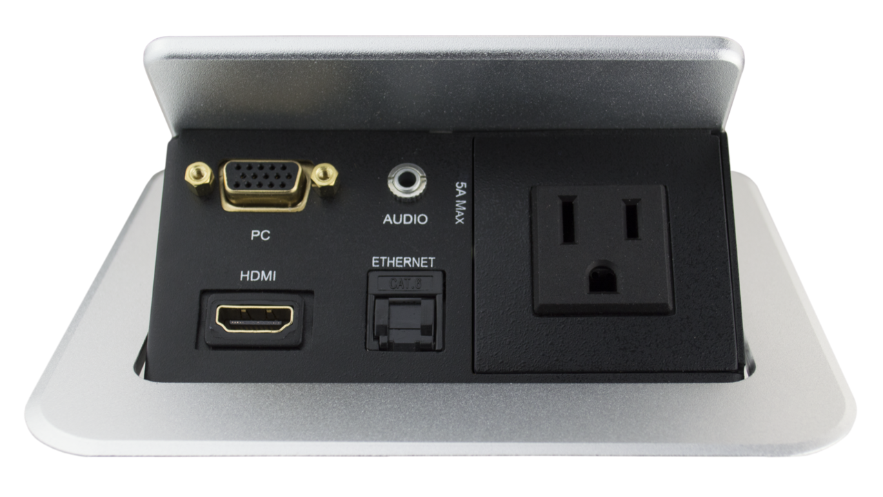 TSPBVADA Square Table Box With HDMI VGA Audio LAN And Power - Conference table power module with hdmi