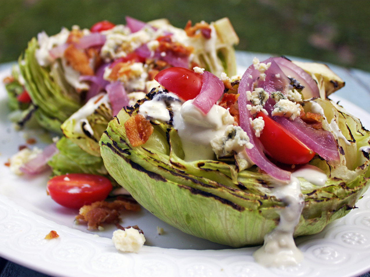 Grilled onion and grilled iceberg wedge salad