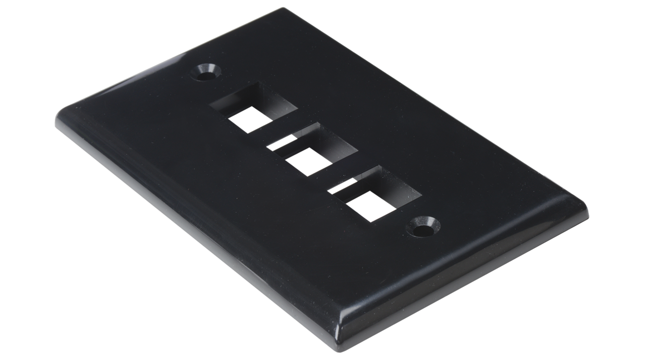 WP-N3-IV - Keystone single gang 3-port smooth faceplate