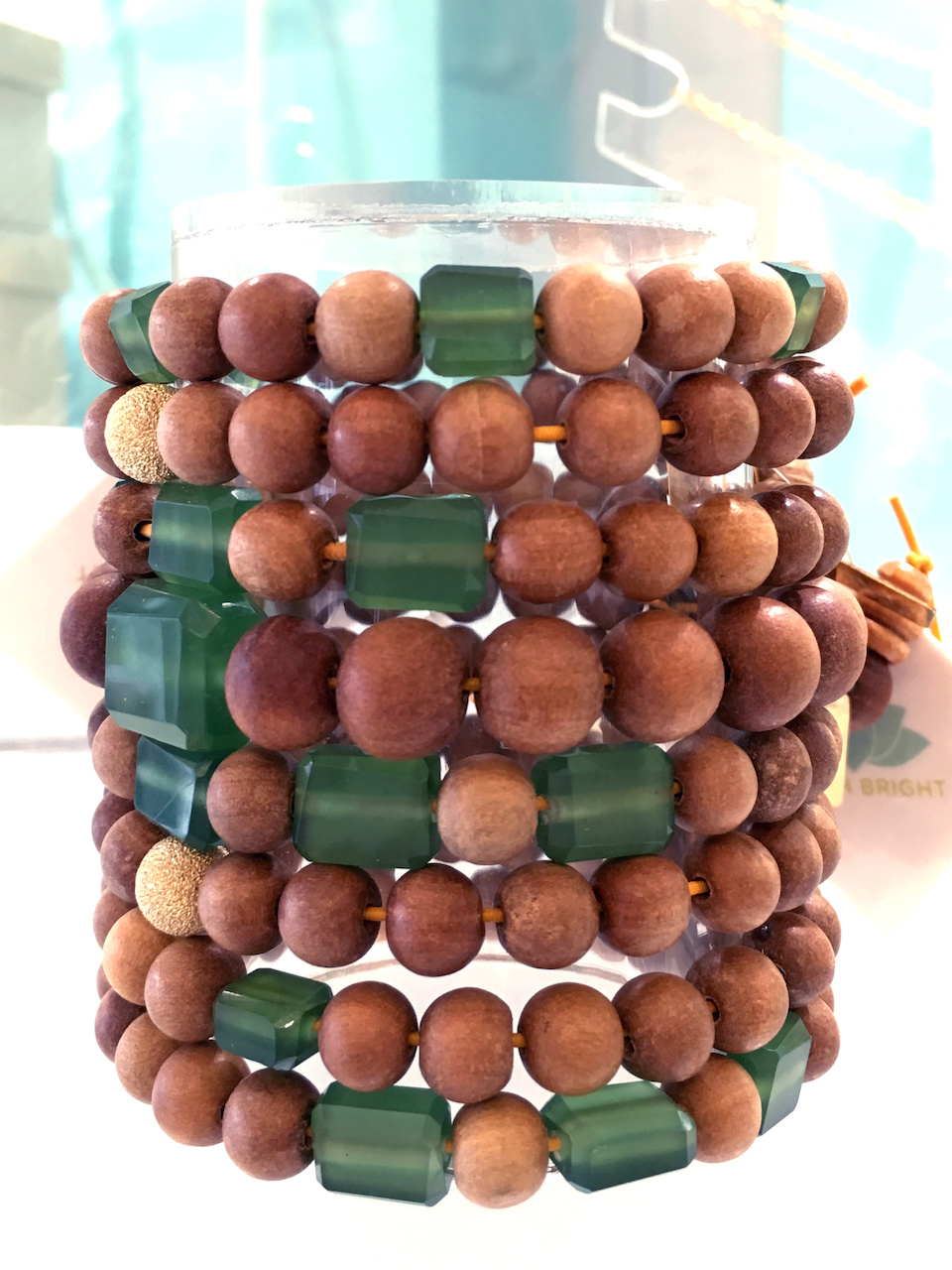 From Judith Bright: Serpentine and sandalwood bracelets, ranging from $58 to $108