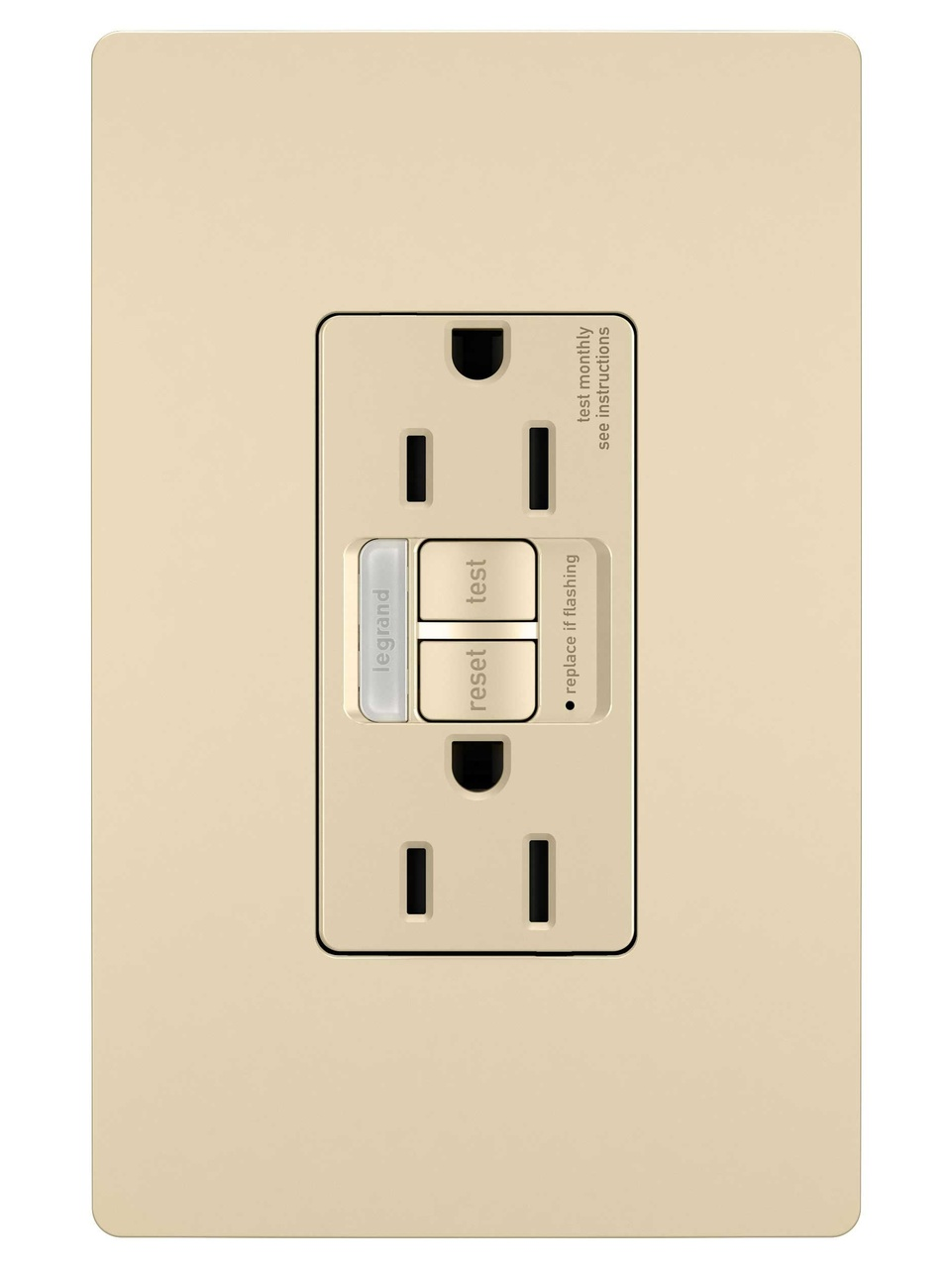 Combination Tamper-Resistant 15A Self-Test Night Light/GFCI, Ivory