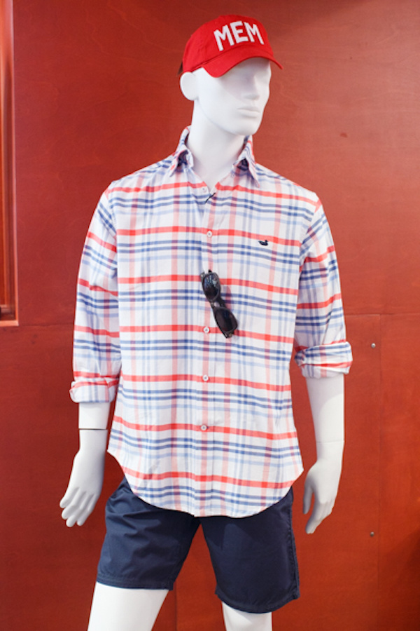 Southern Marsh shirt, $75; John Varvatos shorts, $78; and Aviate MEM hat, $35, from Lansky 126