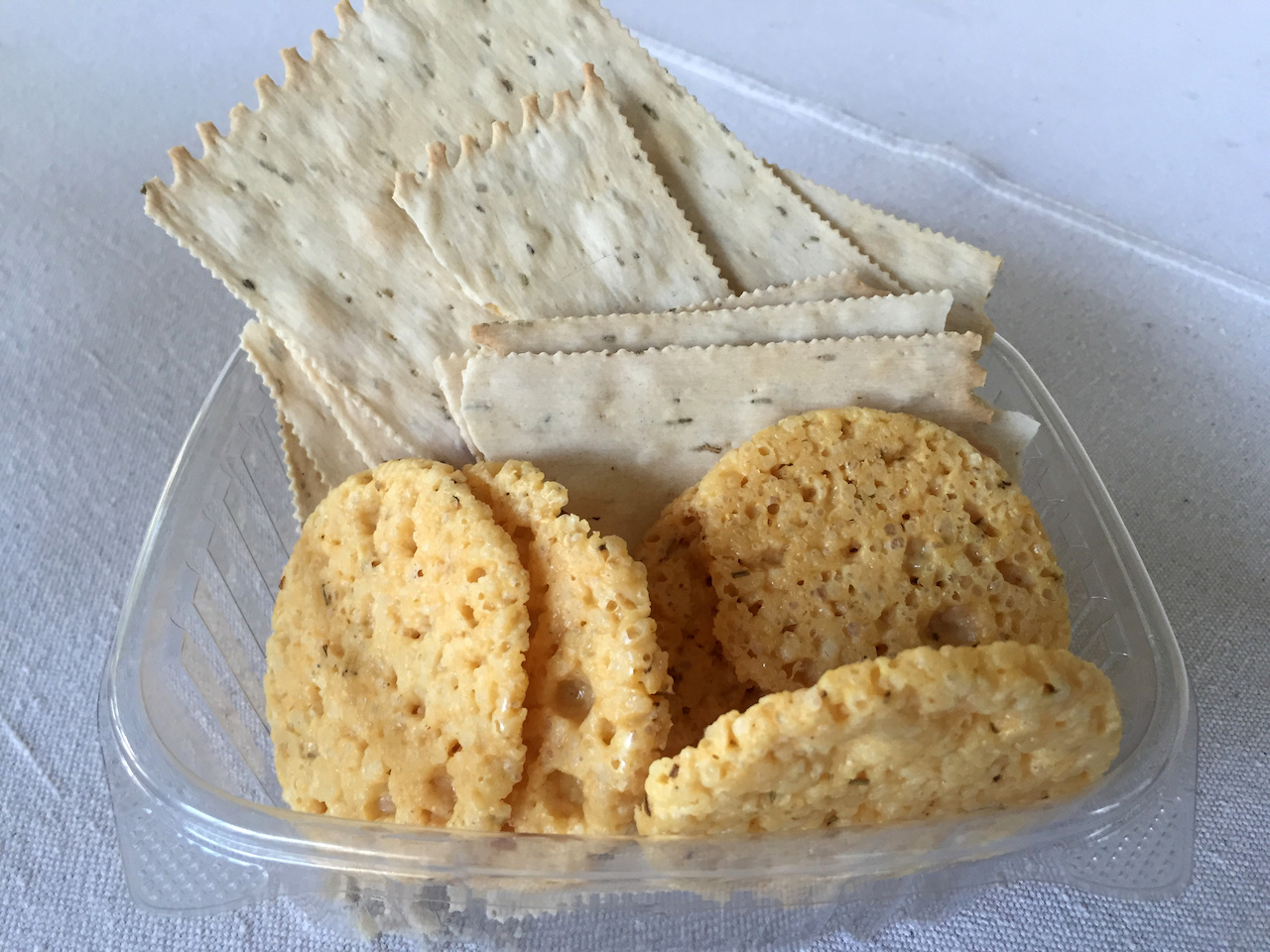 Rosemary crackers and cheese crisps, $4.99 each at Lucchesi's Pasta & Ravioli Company.