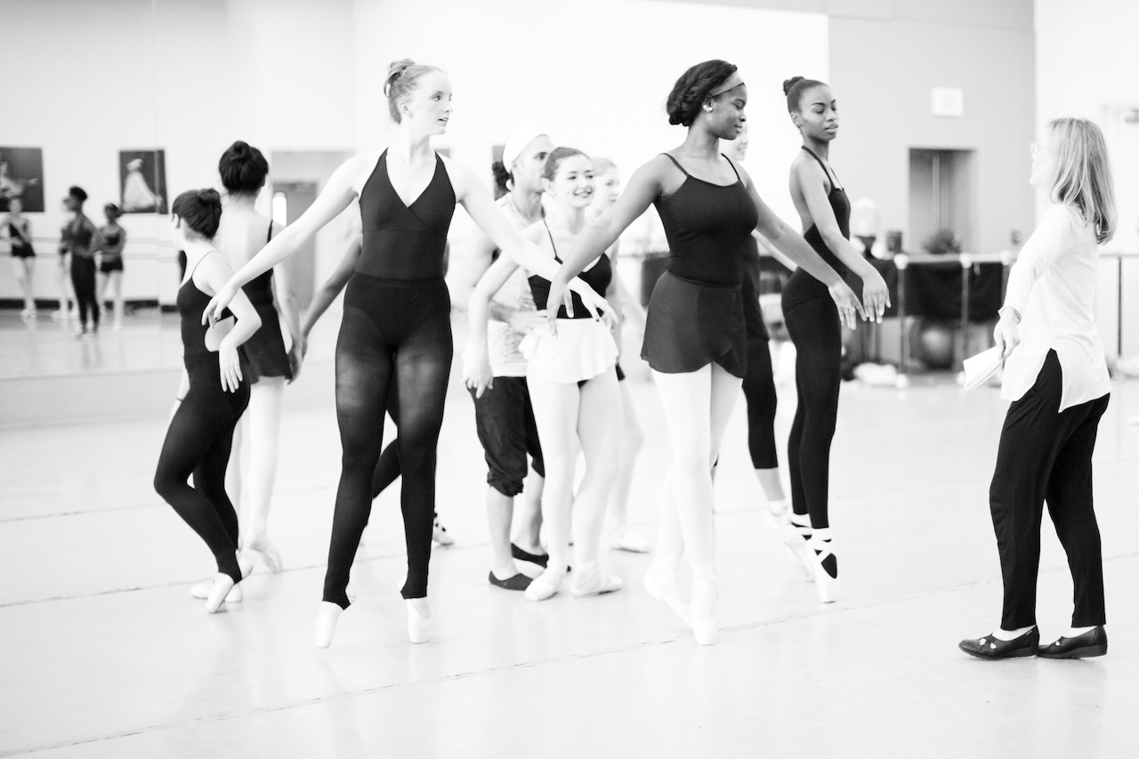 Katie leads NBE dancers during a rehearsal of Nut ReMix.