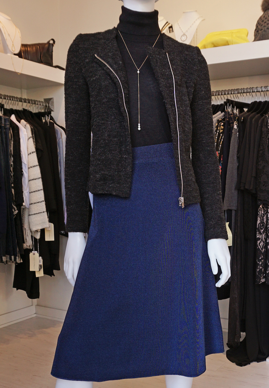 "From <a href=""https://styleblueprint.com/louisville/guide/peacock-boutique/"" target=""_blank"">Peacock Boutique</a>: Missoni navy midi skirt, $795; Sleeveless Turtleneck, $315; Iro structured tent jacket, $609; Necklace, $825"