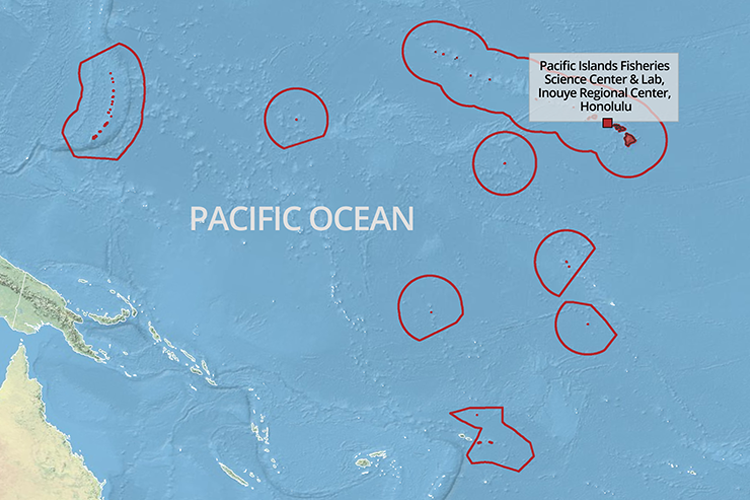 Map of Pacific Islands region with labs labeled