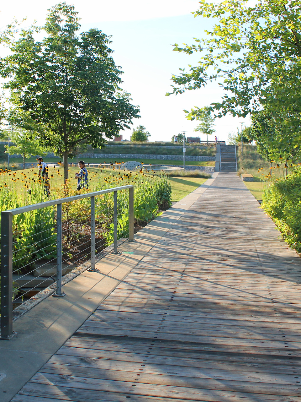There are a variety of materials used on the walkways and play areas.