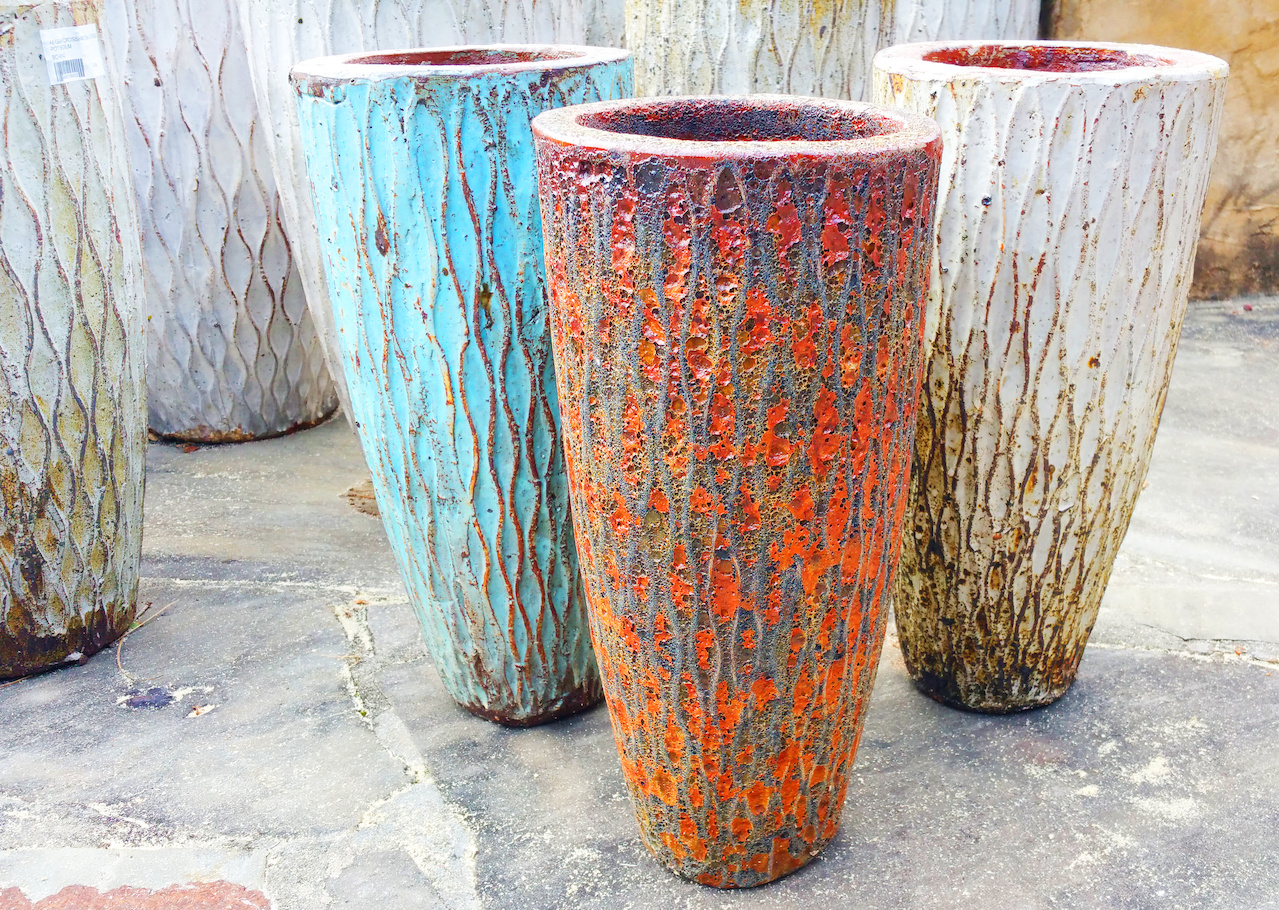 Aegean crosshatch tall egg pots, $24.99 each, at Andy's Creekside Nursery; other sizes and designs available